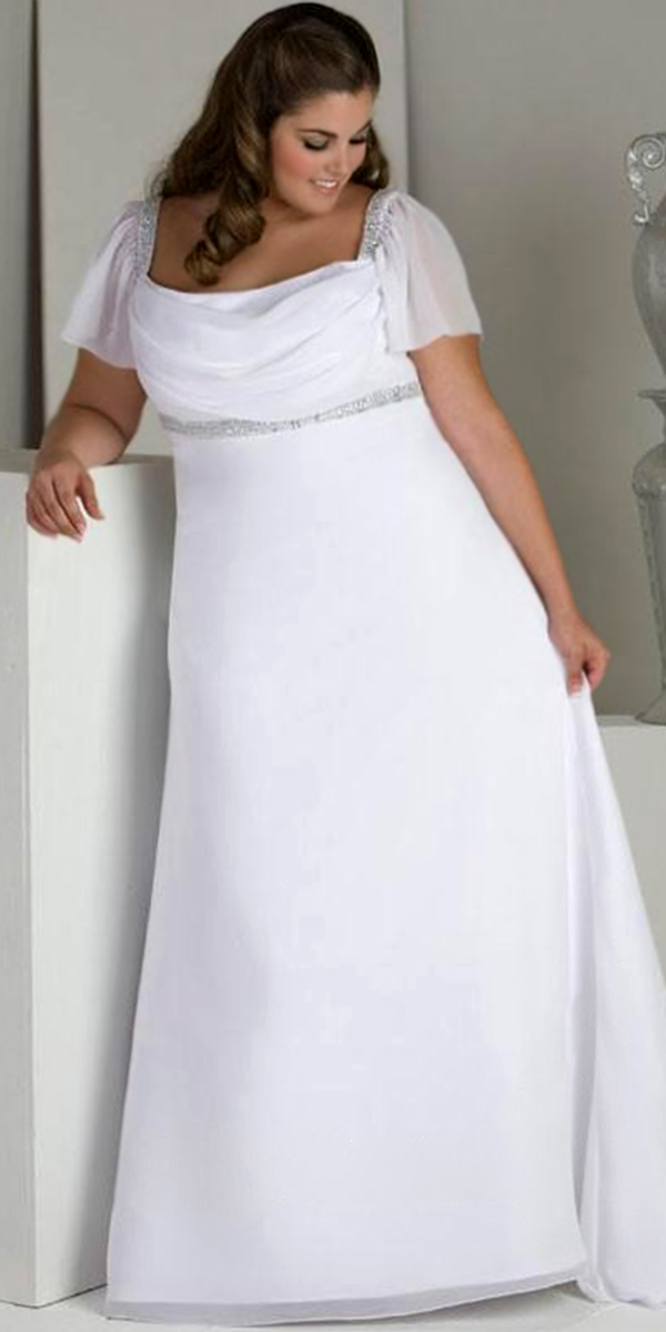 A-Line Beaded Chiffon Plus Size Maternity Wedding Dress | Pregnancy