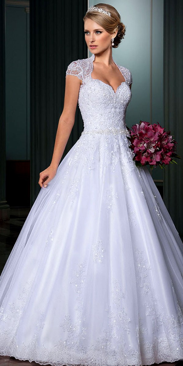 a-line crystal beaded tulle applique wedding dress sexy womens bridal gowns