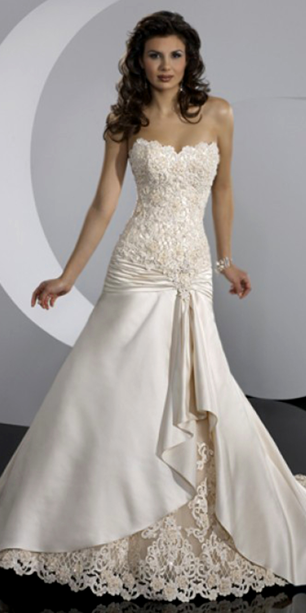 a-line lace satin applique wedding dress sexy womens bridal gowns