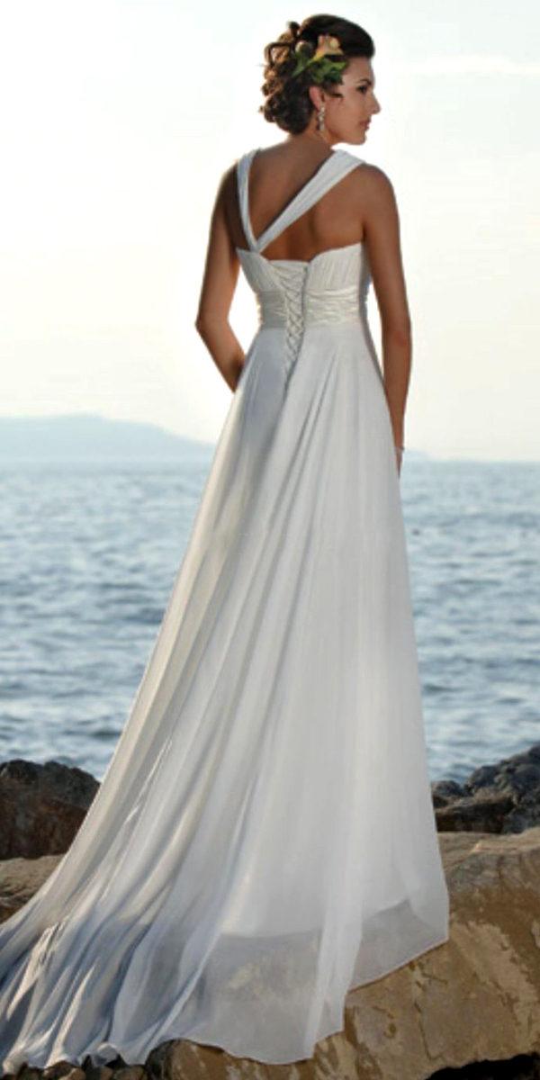 a-line one-shoulder chiffon beach wedding dress sexy womens bridal gowns