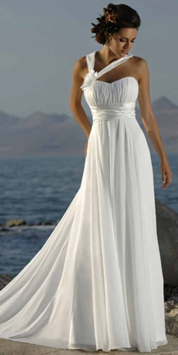a-line one-shoulder chiffon beach wedding dress sexy womens bridal gowns