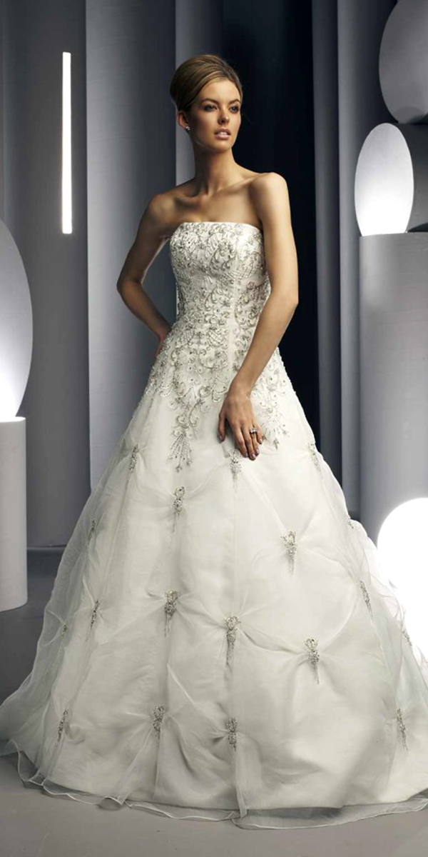 a-line organza crystal beaded wedding dress sexy womens bridal gowns