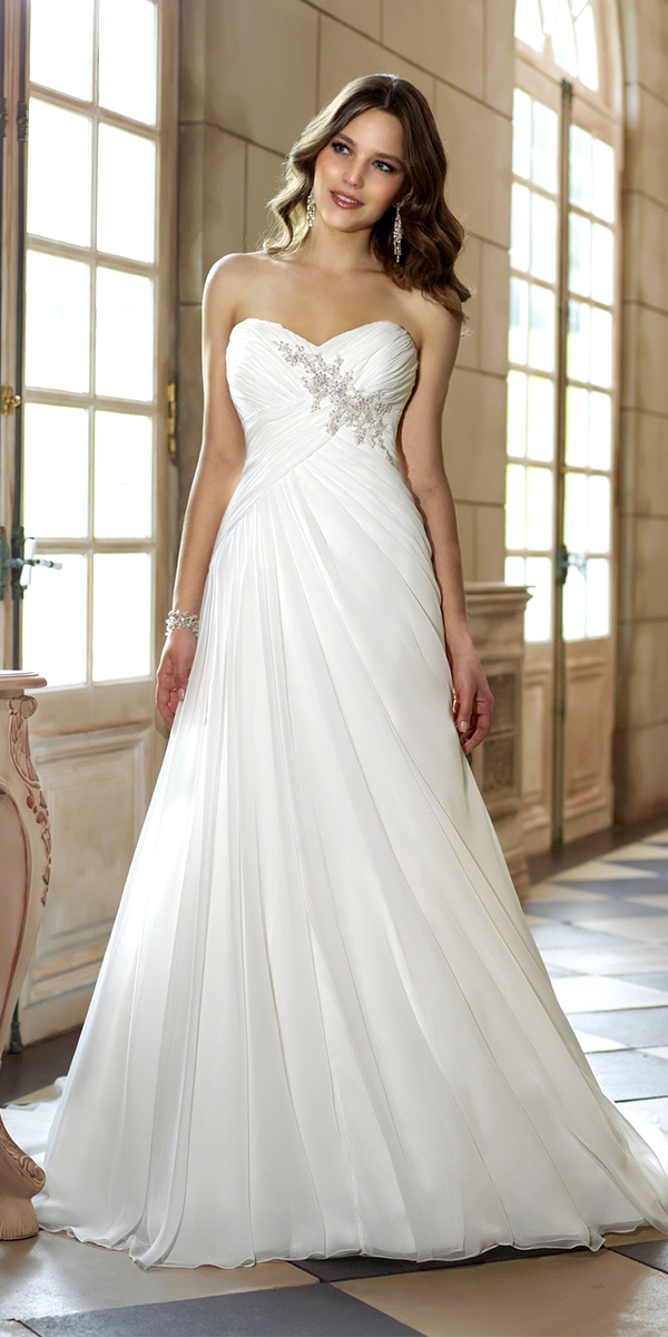 a-line satin beaded chiffon beach wedding dress sexy womens bridal gowns