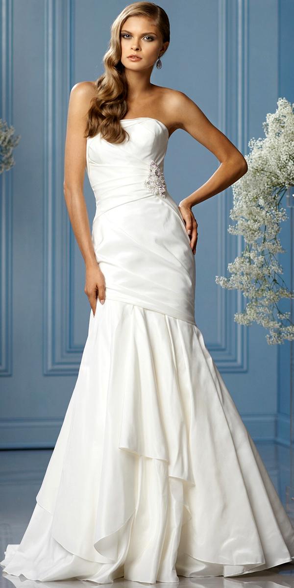 Applique Beaded Strapless Mermaid Wedding Dress