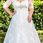 applique crystal half sleeve a-line wedding dress plus size sexy womens bridal gowns