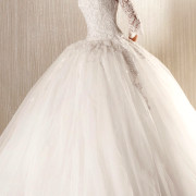 applique lace tulle a-line wedding dress with long sleeves sexy womens bridal gowns