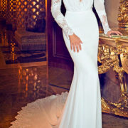 applique v-neck chiffon open back wedding dress with long sleeves sexy womens bridal gowns