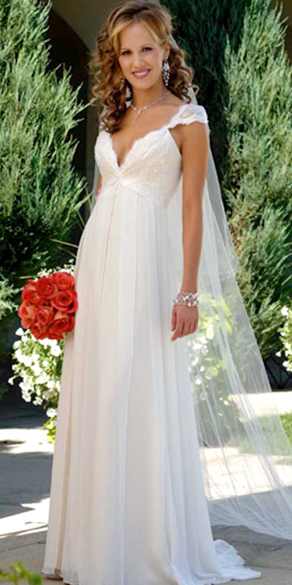 chiffon deep v-neck maternity wedding dress with cap sleeves sexy womens bridal gowns