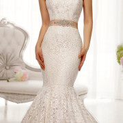 crystal beading lace trumpet wedding dress with ribbon sash sexy ladies bridal gowns
