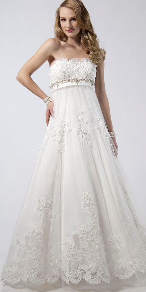 Empire Waist Lace and Tulle Organza Maternity Wedding Dress | Bridal