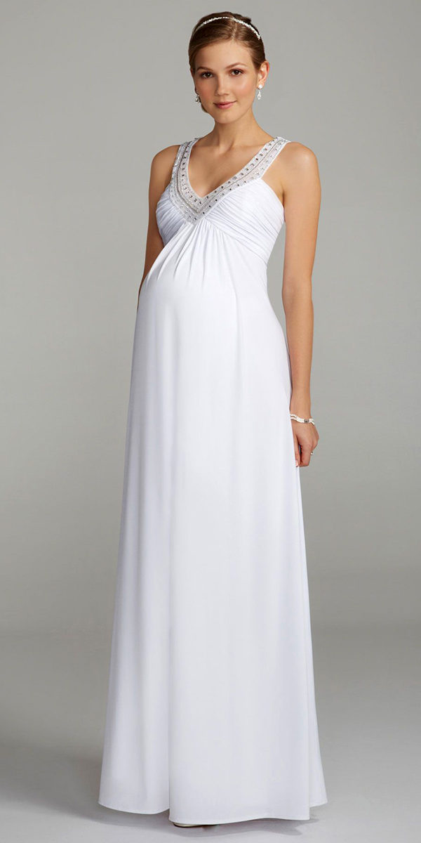 v-neck chiffon maternity wedding dress with beaded neckline