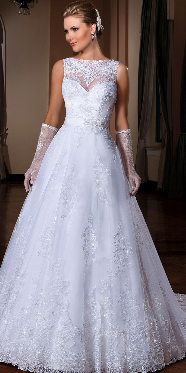 see-through back long train bridal gown sexy womens