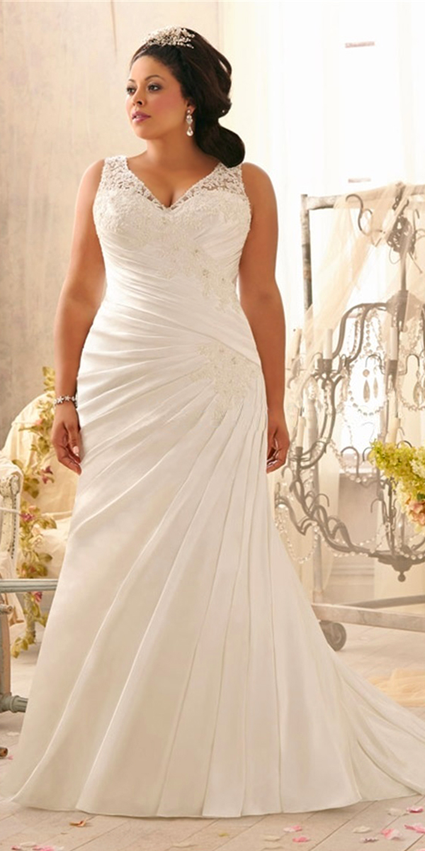v-neck high waist mermaid wedding dress plus size sexy womens bridal gowns