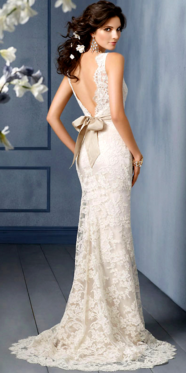 v-neck lace a-line wedding dress with open v back sexy womens bridal gowns