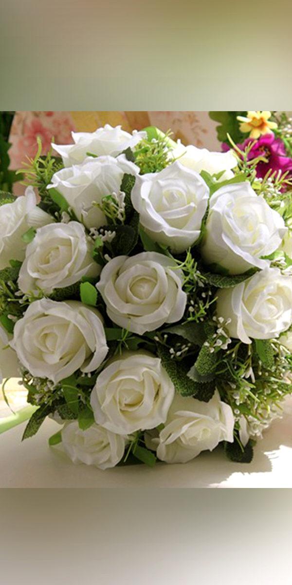 white handmade roses wedding bouquet sexy womens flowers