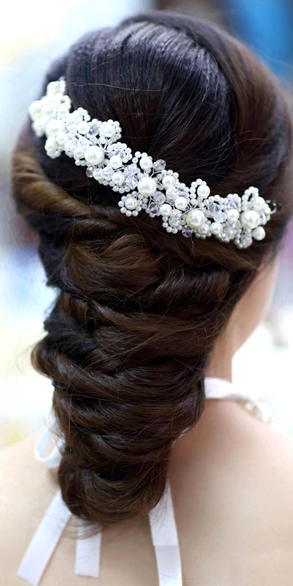 white pearl crystal bridal headdress sexy womens