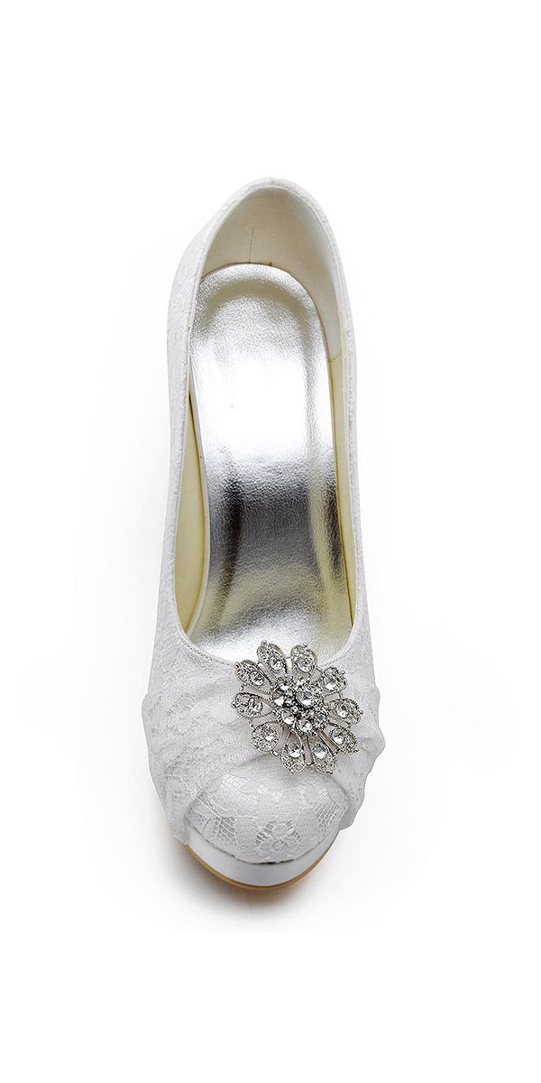 "4"" high heel satin bridal shoe with rhinestones sexy womens accessories"