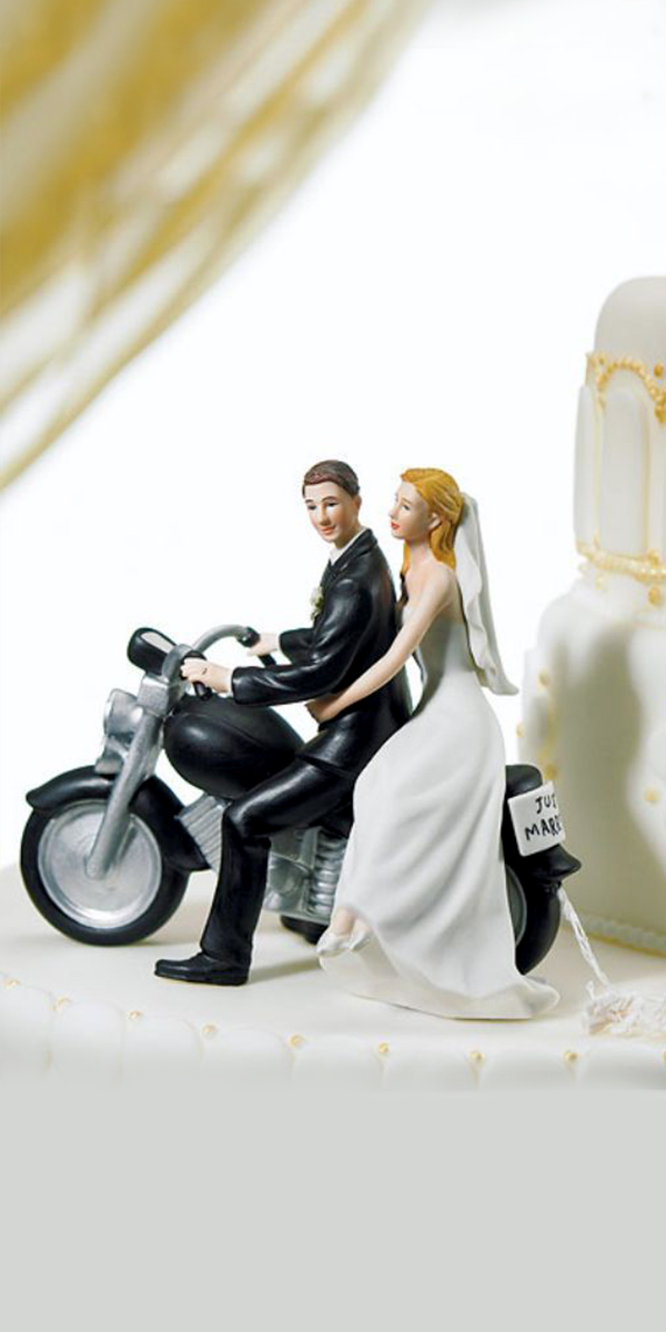 motorcycle get-away wedding cake topper