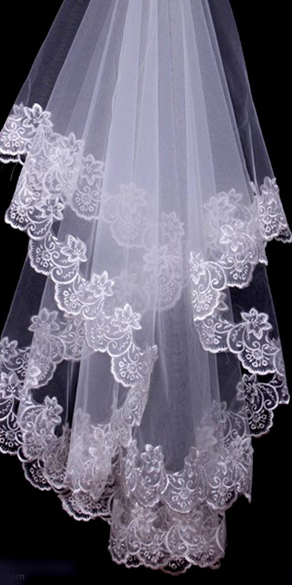 one-layer lace long trailing bridal veil sexy womens wedding accessories