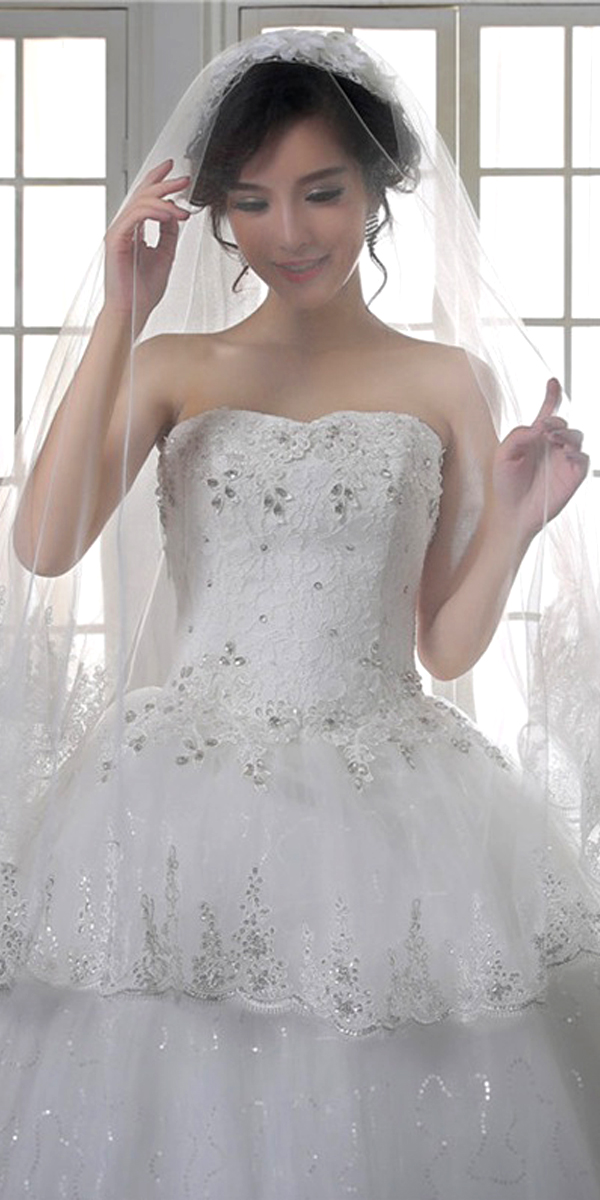 one-layer sequin applique long bridal veil sexy womens wedding accessories