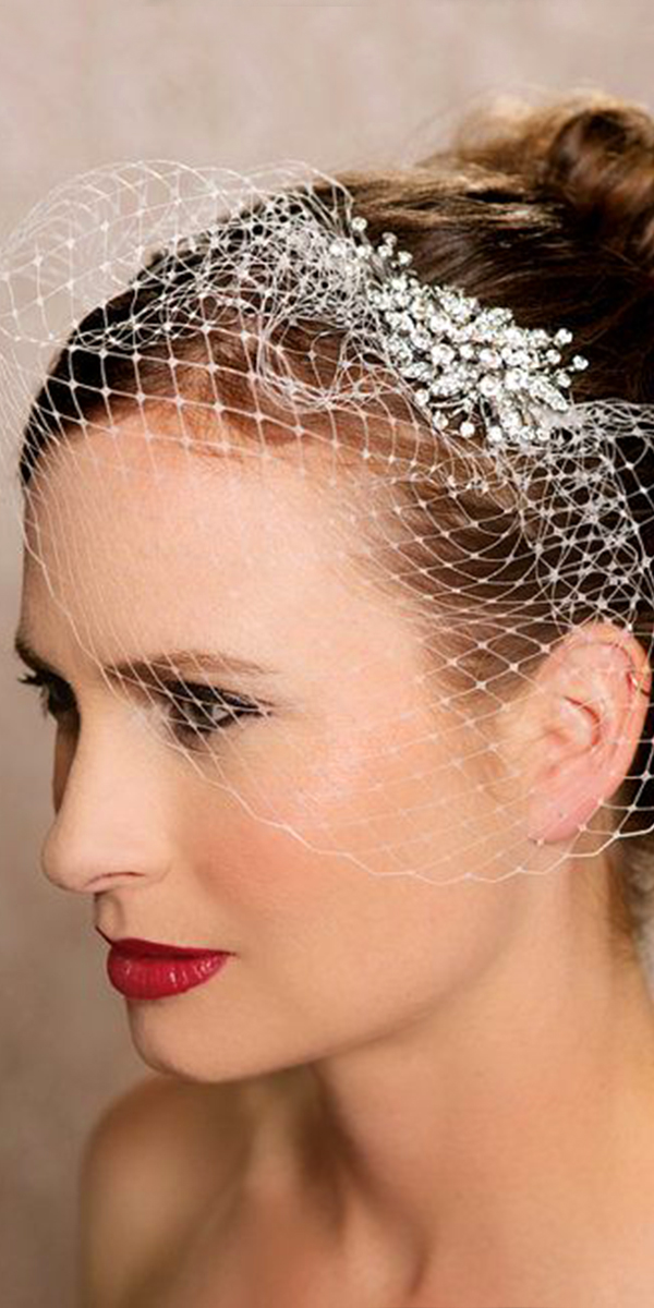 one-layer vintage crystal tulle birdcage bridal veil sexy womens wedding accessories