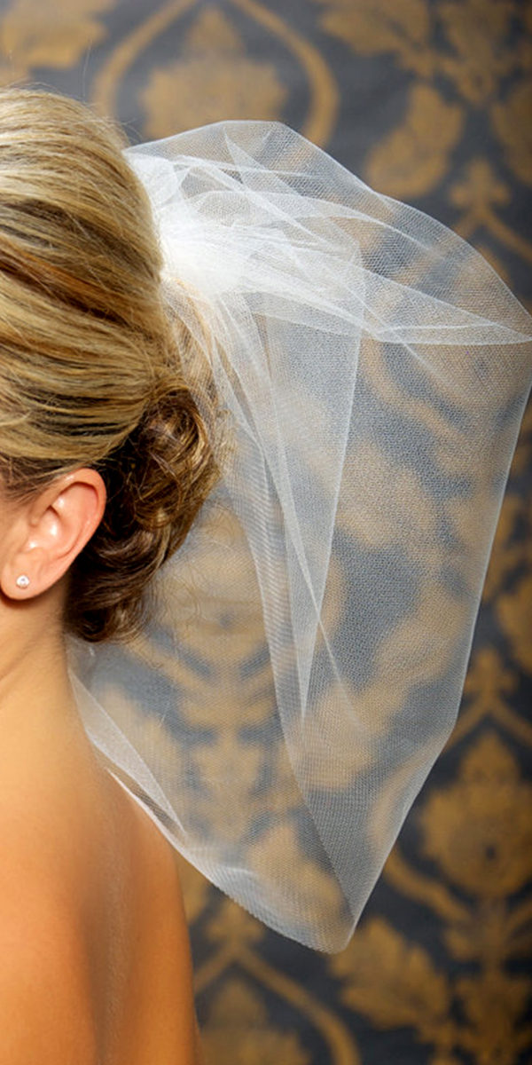one-layer white tulle birdcage bridal veil with covered face sexy womens wedding accessories