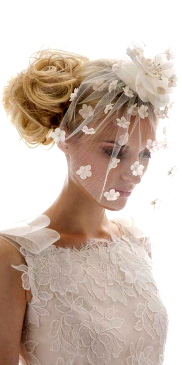white blusher birdcage lace bridal veil with flowers sexy womens accesories