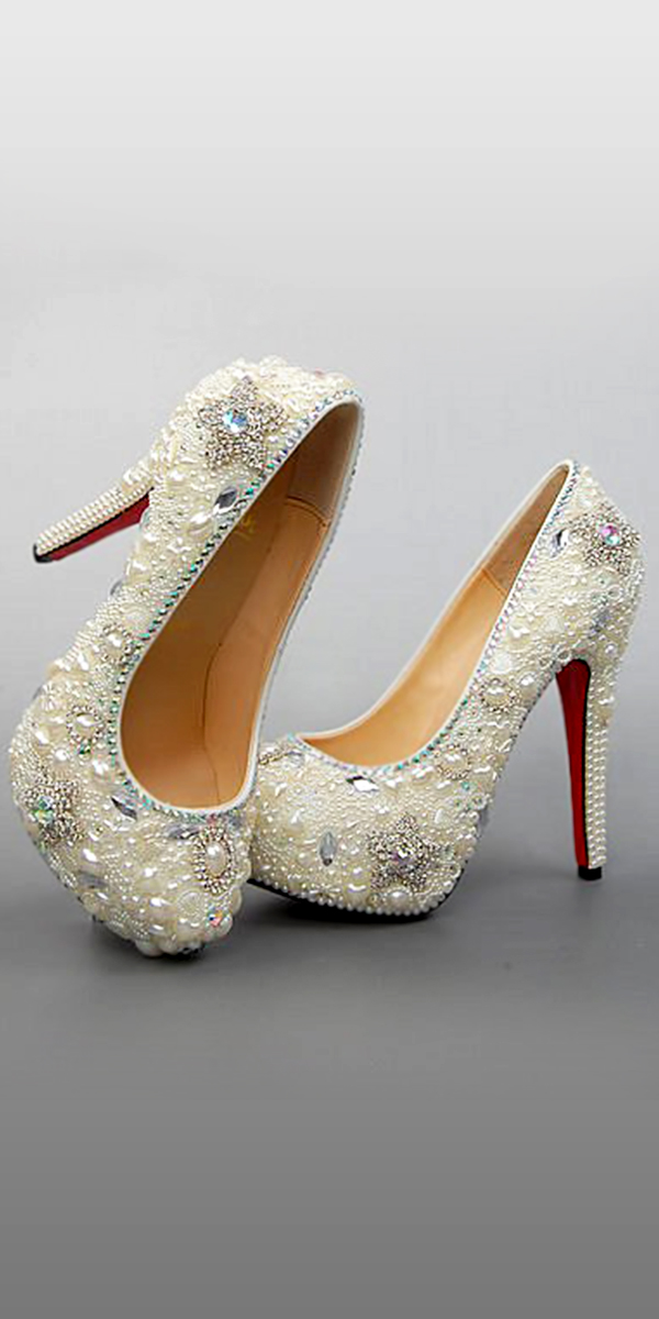 white pearl rhinestone bridal shoes sexy womens bridal accessories