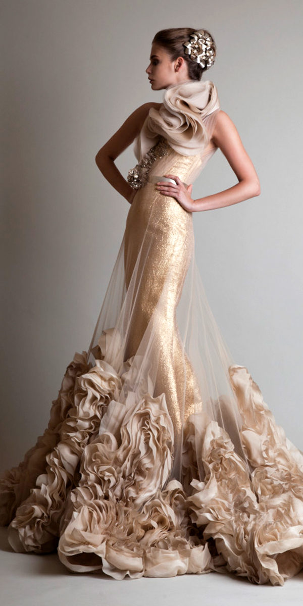 one-shoulder gold tulle evening gown sexy womens lingerie