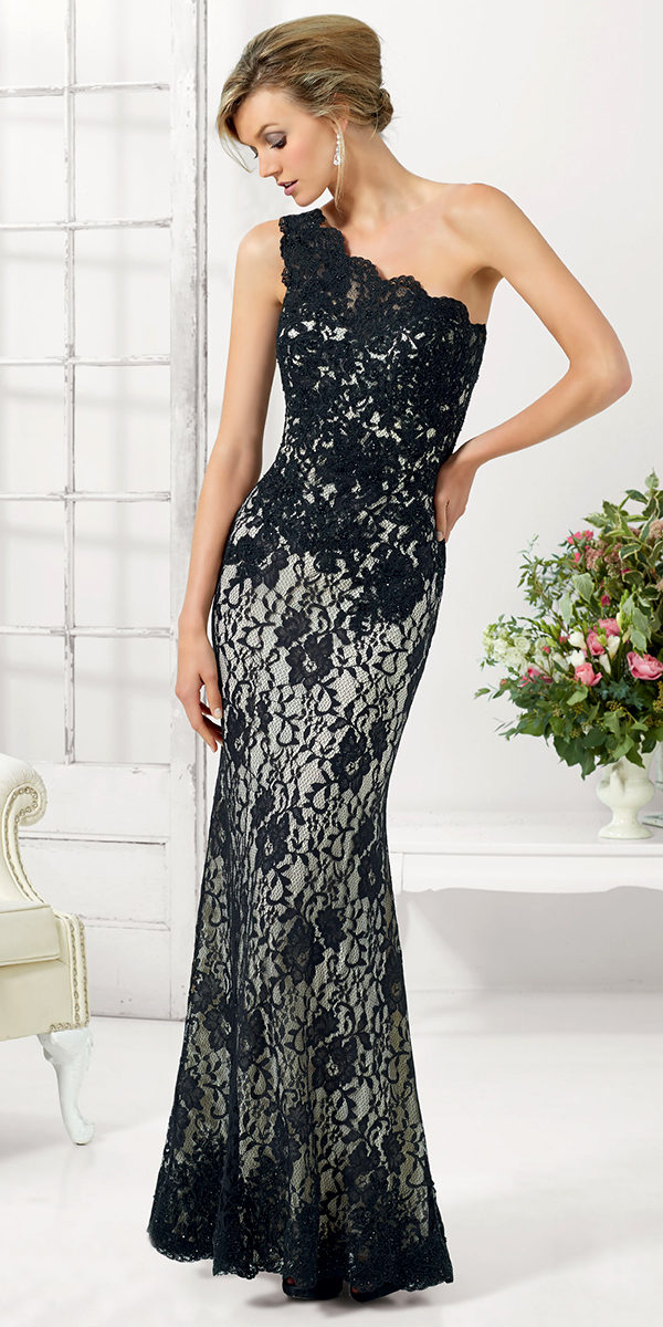 one-shoulder stretched lace evening gown sexy womens lingerie