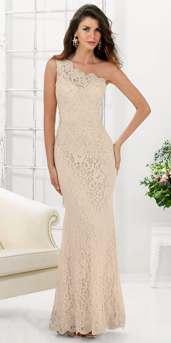 one-shoulder stretched lace evening gown sexy girls lingerie