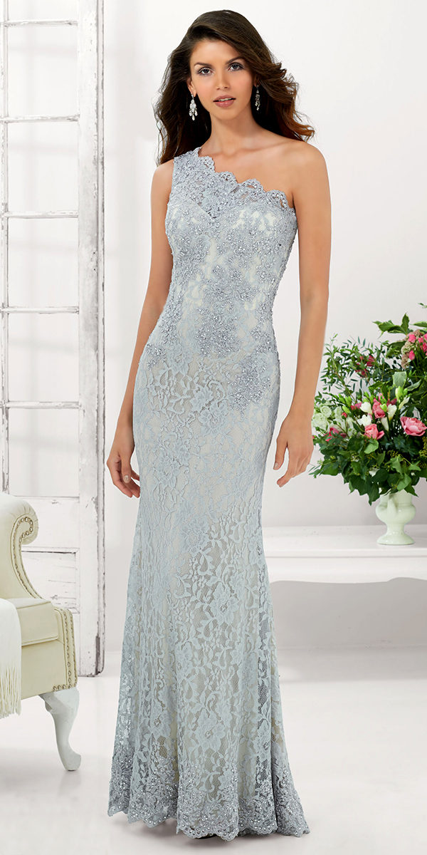 one-shoulder stretched lace evening gown sexy ladies lingerie