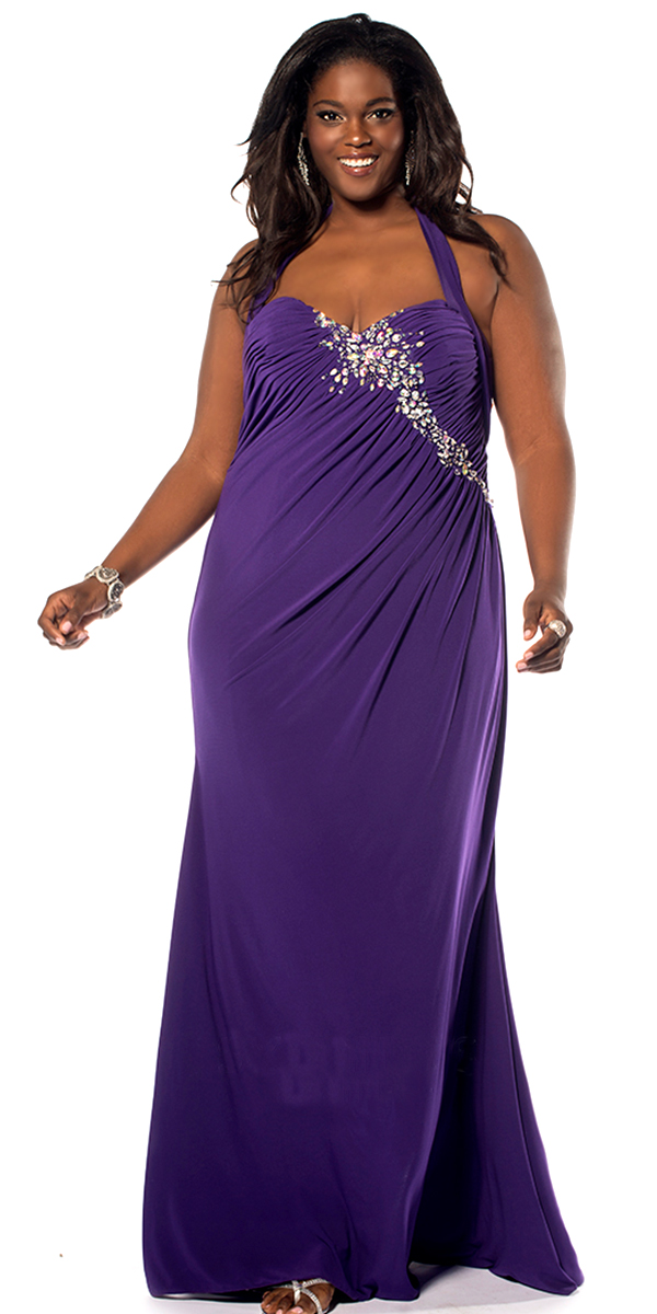Plus Size Crystal Halter Evening Dress Sexywomens Prom Dress