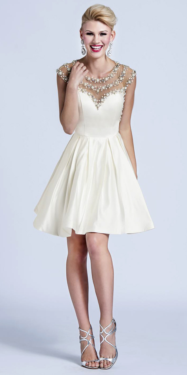 Satin Knee-Length Cocktail Dress with Pearls and Rhinestone Beading