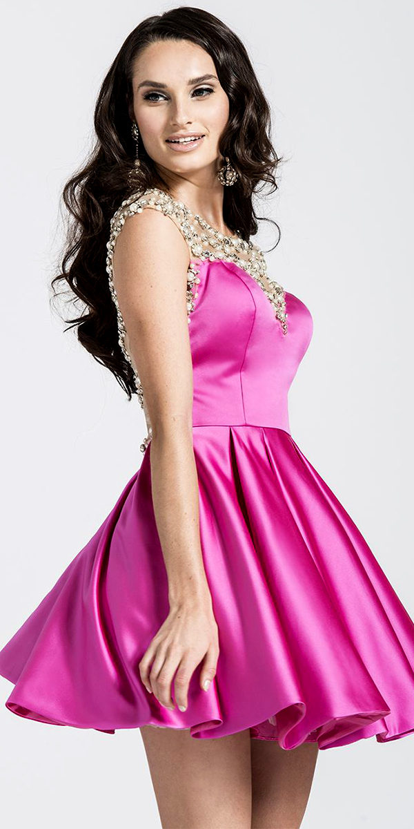 satin knee-length cocktail dress with pearls and rhinestone beading sexy ladies lingerie
