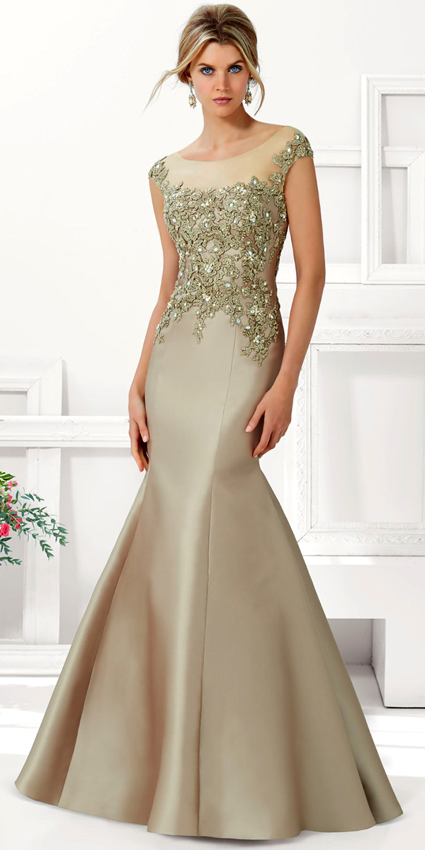 Satin with Beaded Lace Applique Evening Gown | Women\'s Nightgown