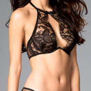 two piece black high neckline sheer halter demi-bra sexy ladies underwear
