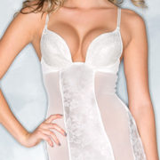 white lace sheer chemise with thong sexy women's bridal lingerie