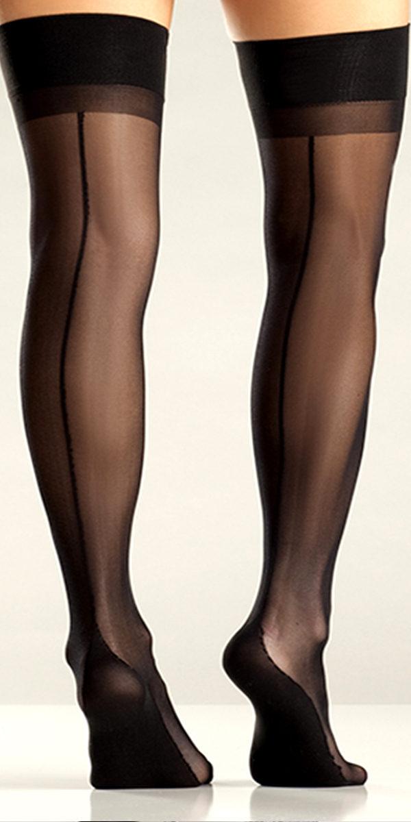 black cuban heel thigh highs sexy ladies hosiery
