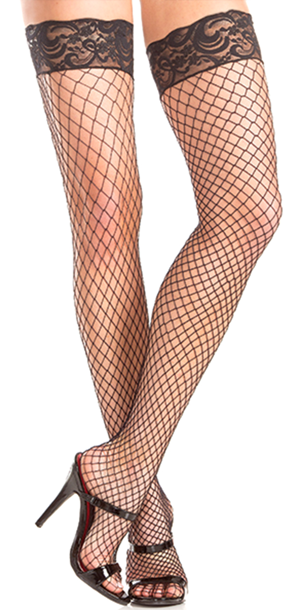 black fishnet thigh highs with lace top
