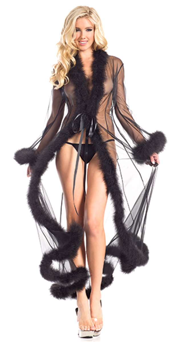 full-length sheer robe with marabou feather trim sexy womens lingerie