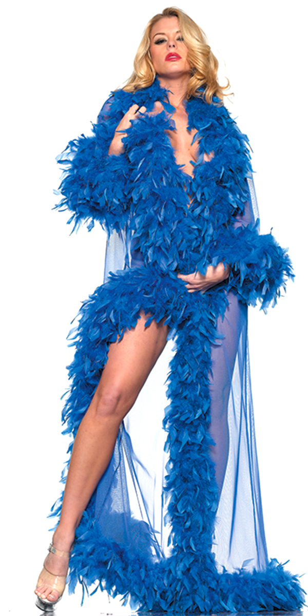full-length glamour robe with feather trim hot pink sexy womens costumes blue