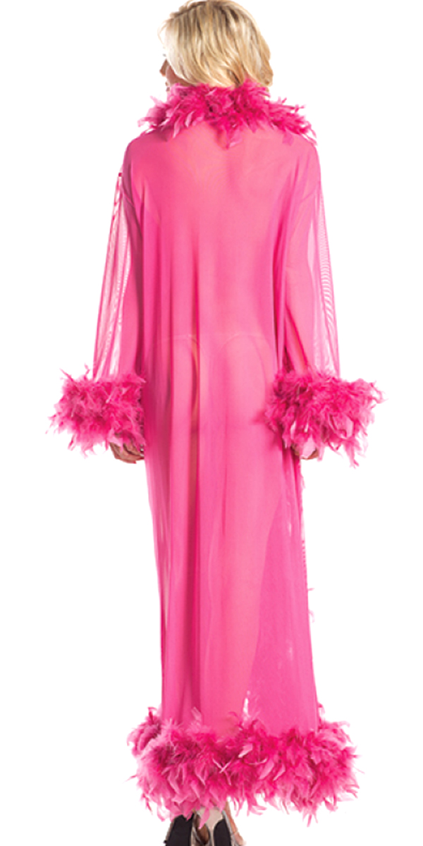 full-length glamour robe with feather trim hot pink sexy womens costumes magenta