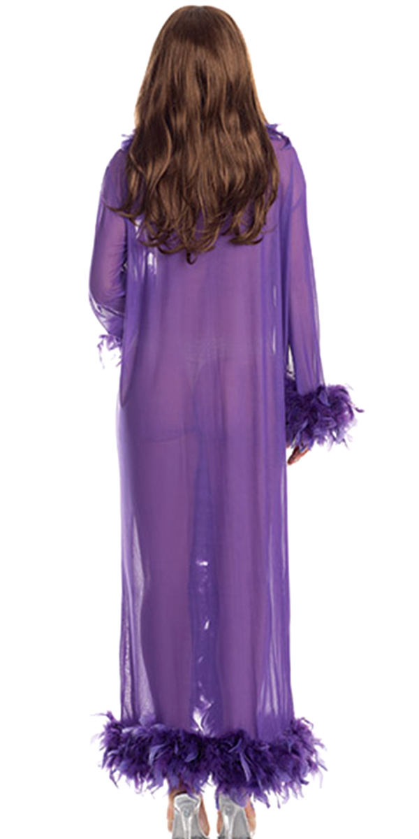 full-length glamour robe with feather trim hot pink sexy womens costumes purple