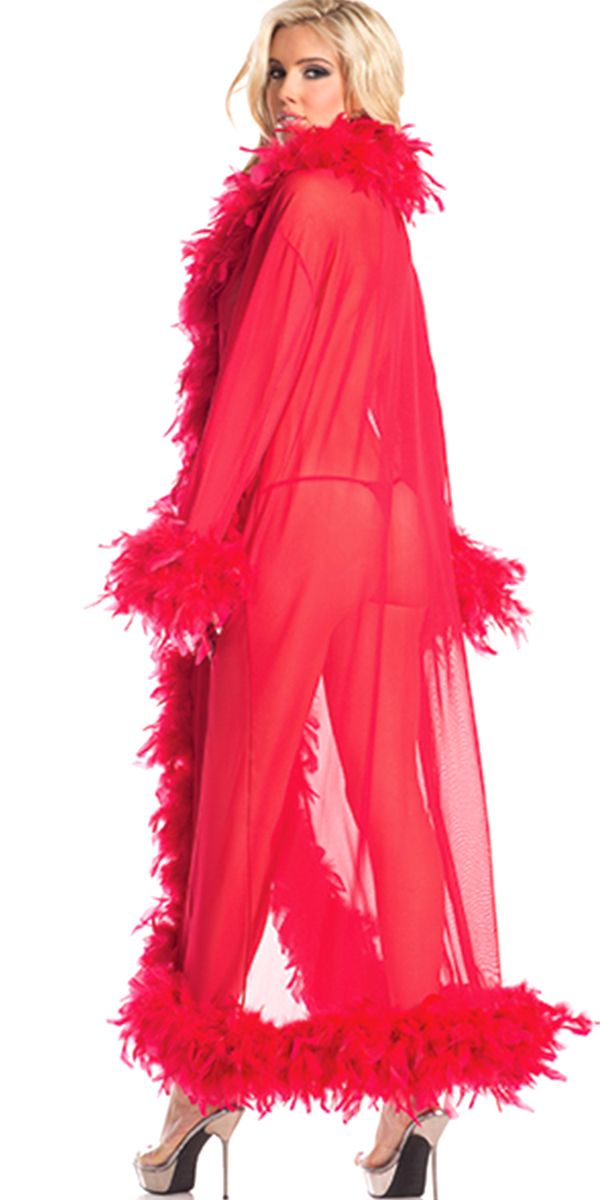 full-length glamour robe with feather trim hot pink sexy womens costumes red