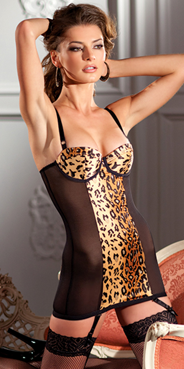 one piece black with animal print cami suspender sexy ladies underwear