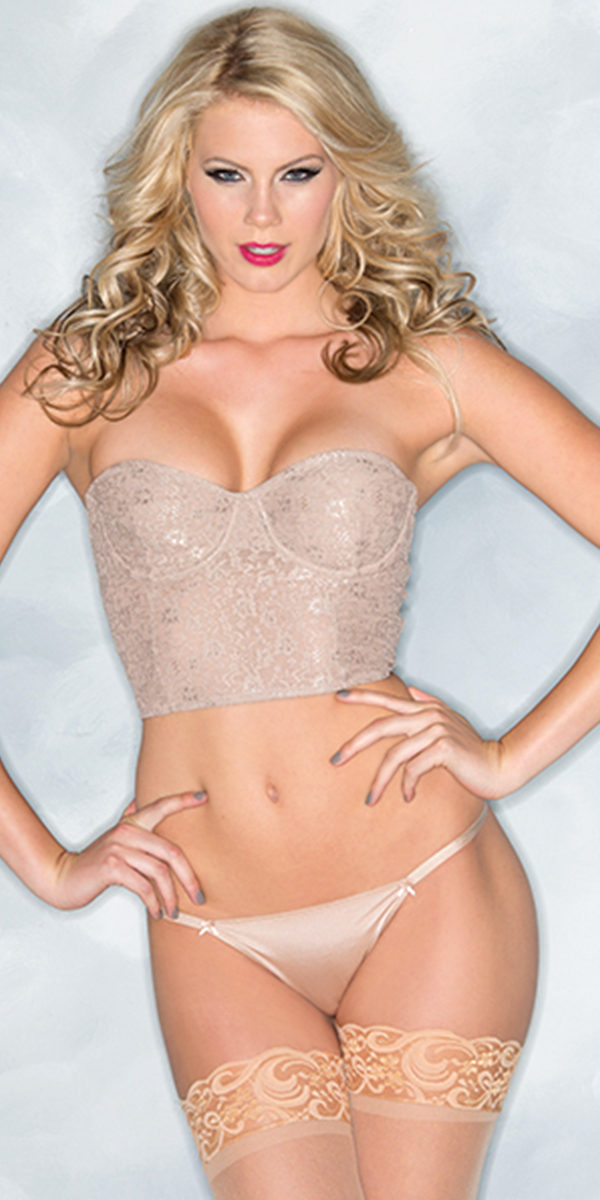 lace-cropped bustier with thong sexy women's lingerie