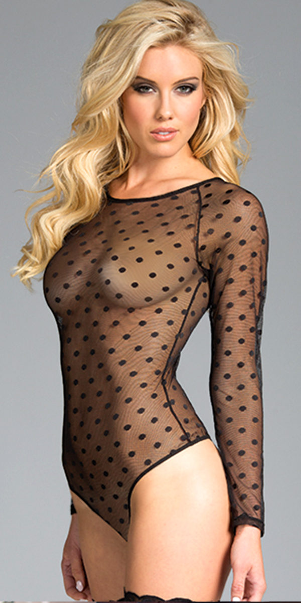 black long sleeve bodysuit with polka dots sexy women's hosiery