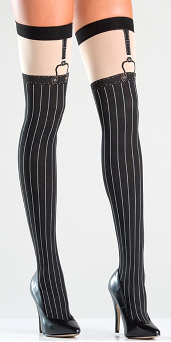 opaque black thigh highs with pinstripes sexy womens hosiery