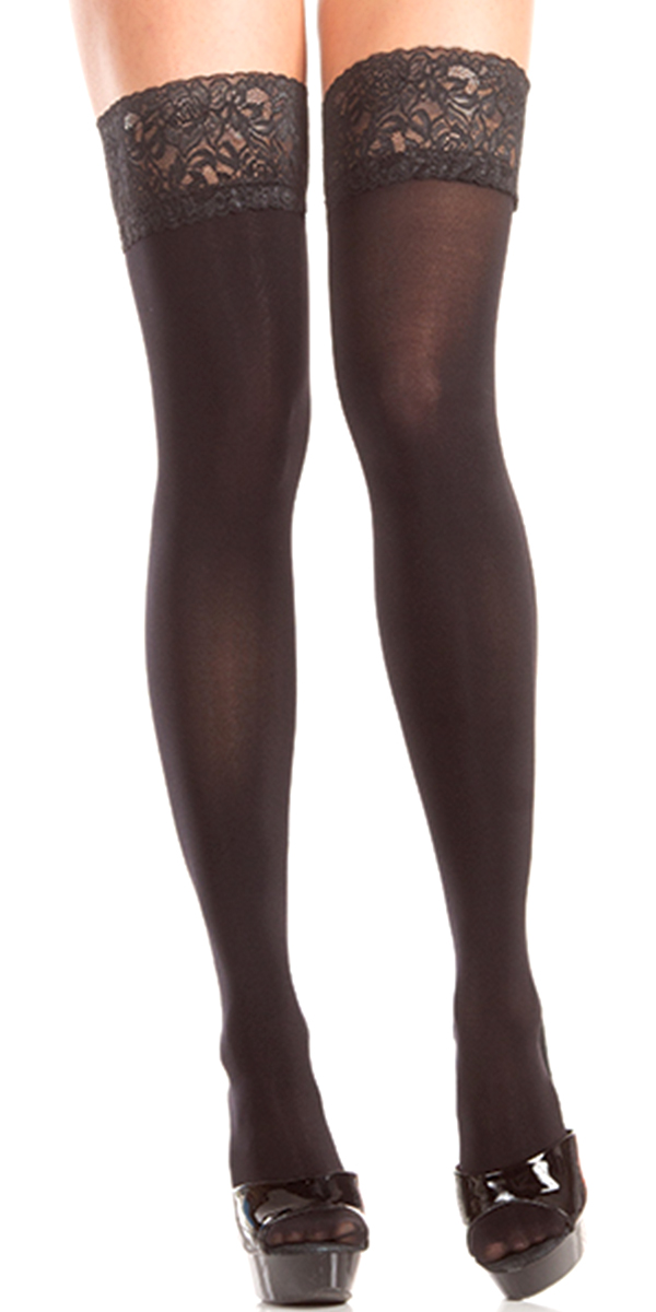 stay-up black thigh highs with lace welt sexy womens hosiery